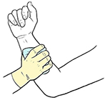 Gloved hand holding compress over wound on forearm.