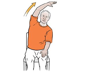 Man sitting in chair doing side stretch exercise.
