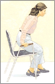 Image of woman in chair lifting herself up off a chair using her arms