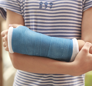 Teen with arm in cast